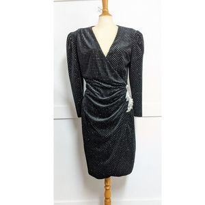 Vintage 1980s Black Velvet Wrap Dress size 10